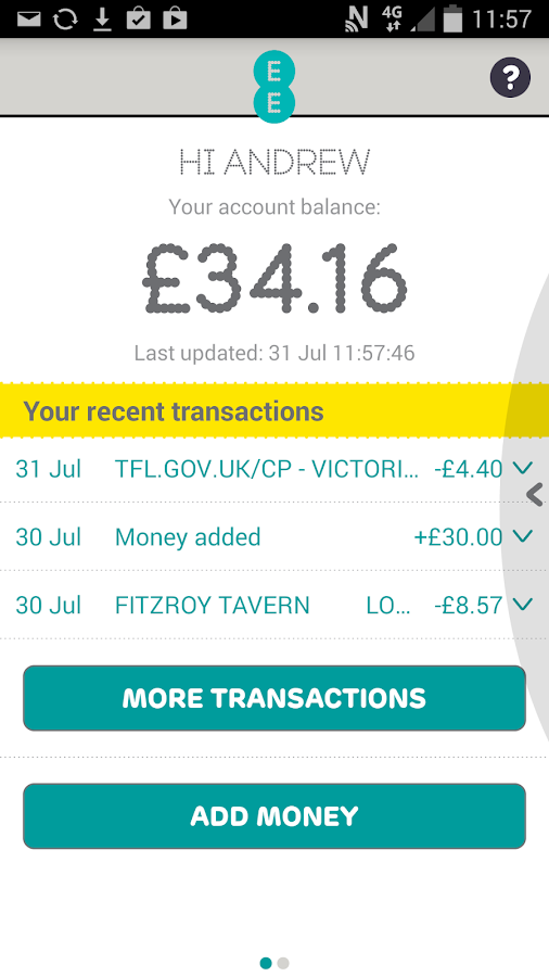 EE Tap Wallet - Cash on Tap- screenshot