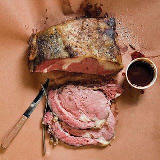 Smoked Prime Rib With Peach-Chipotle Sauce.