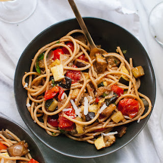 Spicy Roasted Ratatouille with Spaghetti.