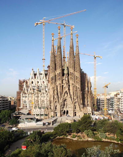 Sagrada-Familia-Barcelona - The Basílica and Expiatory Church of the Holy Family, popularly called Sagrada Família, is the large Roman Catholic church in Barcelona designed by Catalan architect Antoni Gaudí. Construction began in 1882 and is projected to be completed in 2026. Why rush a good thing?