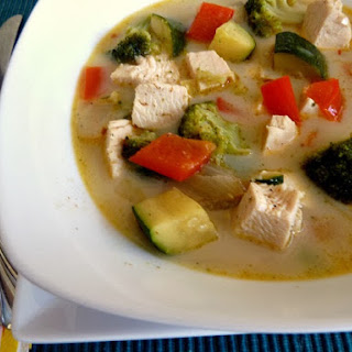 Spicy Coconut Soup with Chicken and Vegetables.
