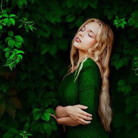 by Ann Nevreva - People Portraits of Women ( natural light, girl, woman, green, green dress, beauty, light, people, hair )