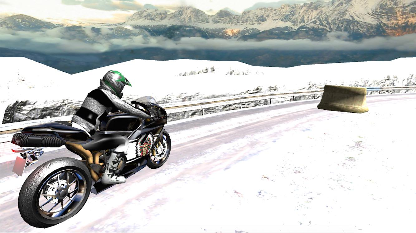 Super Moto Bike Rider On Snow- screenshot
