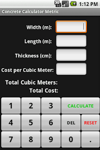 Concrete Calculator Metric