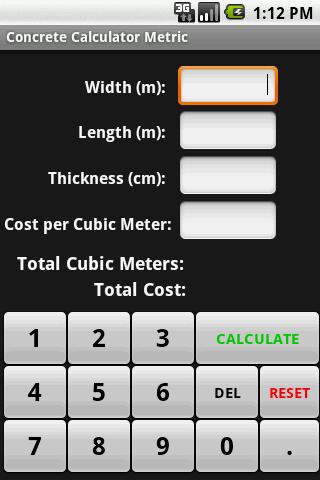 Concrete Calculator Metric- screenshot