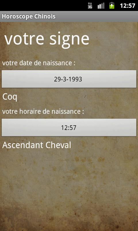 Horoscope Chinois - screenshot