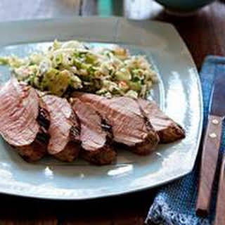 Grilled Pork Tenderloin with Quick Pickled Slaw.