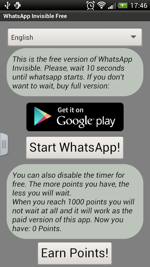 Invisible Whatsapp Free - screenshot