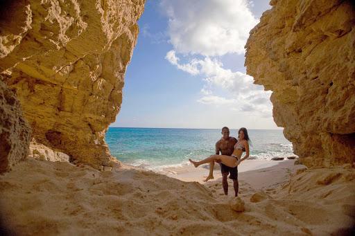 couple-near-cupecoy-cove-St-Maarten - A couple near Cupecoy Beach in St. Maarten.