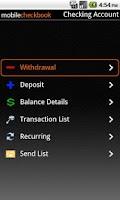 Screenshot of Mobile Checkbook