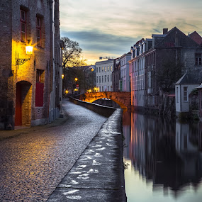 Evening Stroll in Bruges by Stephen Bridger - City,  Street & Park  Neighborhoods ( reflection, europe, bruges, belgium, travel, canal, travel photography )
