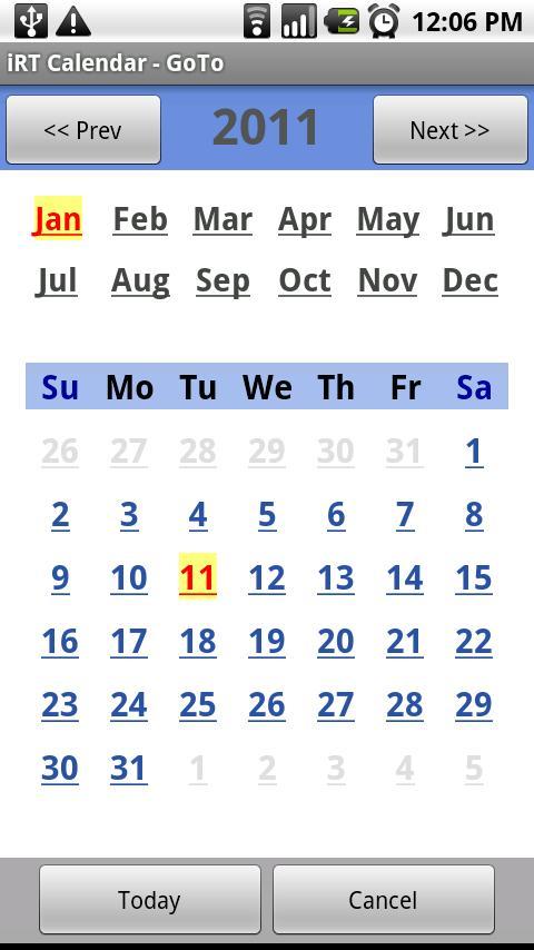iRT Calendar- screenshot