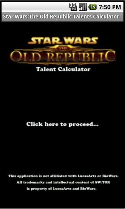 SWTOR Talents Calculator - screenshot