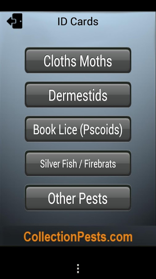 Pest Reference for Collections- screenshot