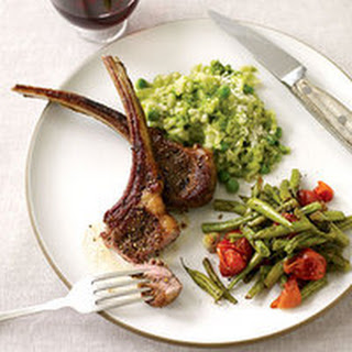 Lamb Chops with Roasted Vegetables and Spring Pea Risotto.