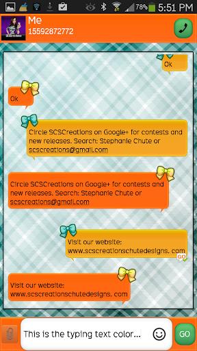 GO SMS - Girly Skulls 3