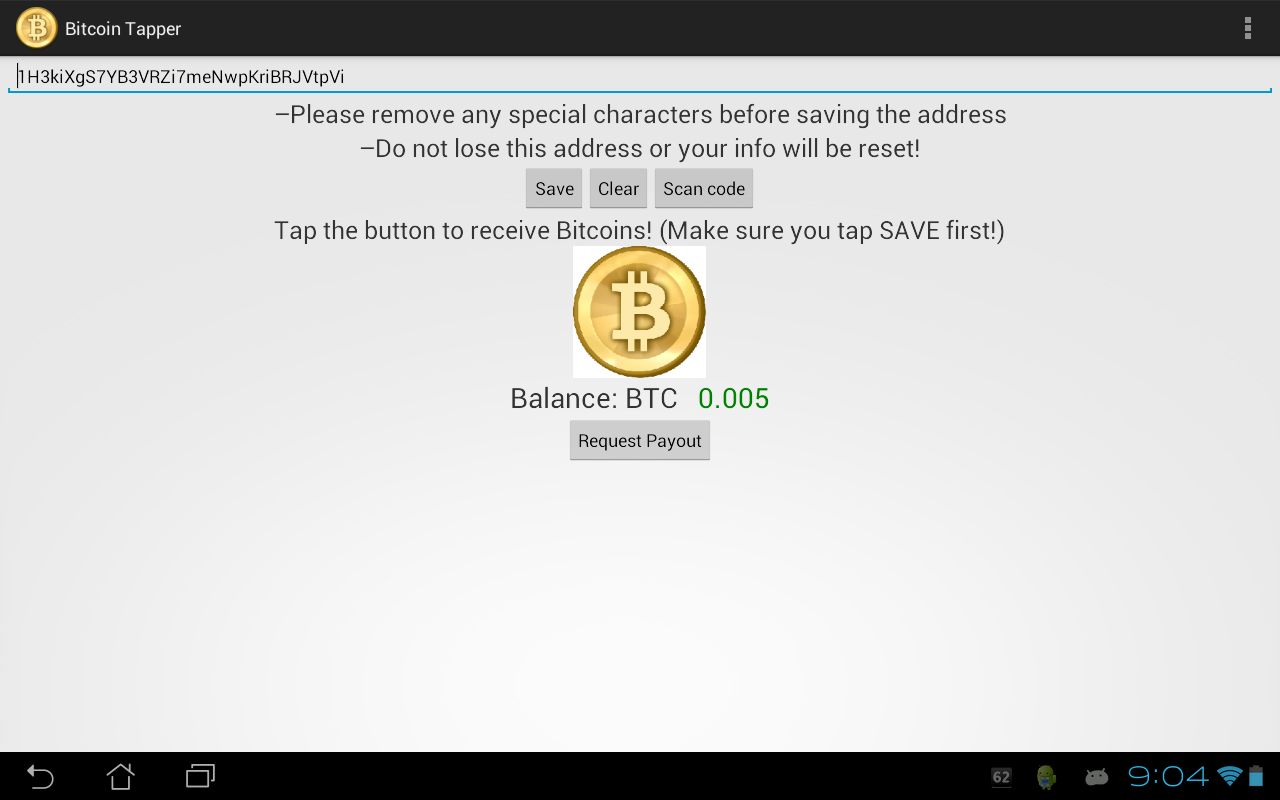 Bitcoin Tapper - screenshot