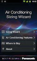 Screenshot of Panasonic Aircon Sizing Wizard