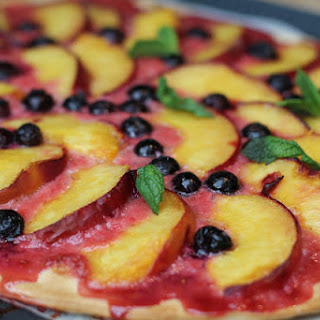 Sweet Pizza with Nectarines and Blueberries.