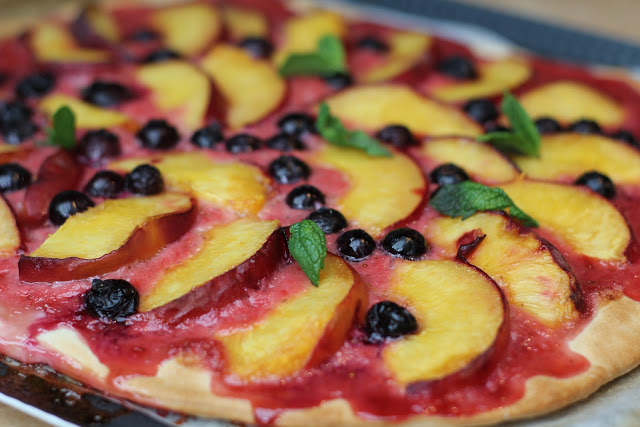 Sweet Pizza with Nectarines and Blueberries Recipe