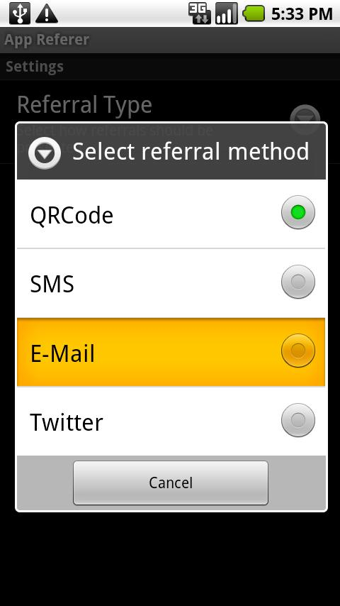 App Referrer- screenshot