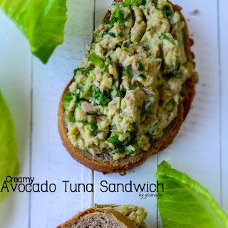 Creamy Avocado Tuna Sandwich.