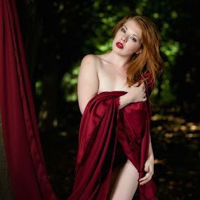 by Colin Dixon - People Portraits of Women ( implied nude, red, cloth, redhead, green )