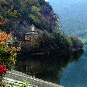 by Claudiu Petrisor - Instagram & Mobile iPhone ( water, tranquil, mountains, tree, church, relax, roses, bush, lake, relaxing,  )