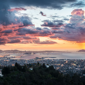 End of a the Day by Adam Collins - Landscapes Sunsets & Sunrises ( thunderstorm, bay, sunset, grizzly peak, bay bridge, san francisco, berkeley )