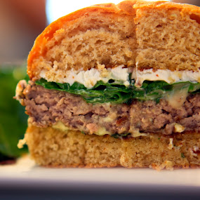 burger bach south lamb burger! by Christopher Wu - Food & Drink Plated Food ( burger, food, lettuce, meat, half, cheese, lamb, burger bach, Food & Beverage, meal, Eat & Drink,  )