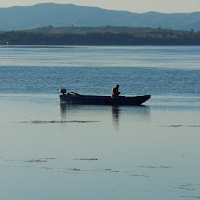Boat on the river by Irena Čučković - Landscapes Waterscapes ( silouette, blue, serbia, fishing, boat, danube, river )