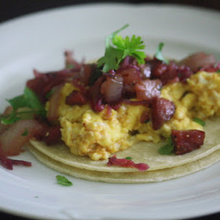 "Austrian Breakfast Tacos with Spicy ""Sauerkraut"" and Summer Sausage."