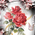 Red Flowers And Butterfly Live icon