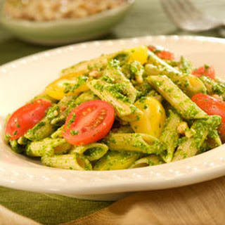 Pasta Salad With Spinach 'n Walnut Pesto.