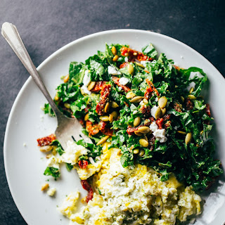 Goat Cheese Scrambled Eggs with Pesto Veggies