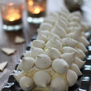 Christmas Log with Lemon Cream and Lemongrass Meringues.