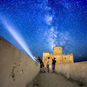 Staring At The Stars by Luca Libralato - Landscapes Starscapes ( stars, torre astura, sea, castle, milky way, nightscape,  )