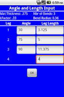 Screenshot of Bend Line Calculator
