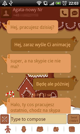GO SMS Pro Gingerbread Theme