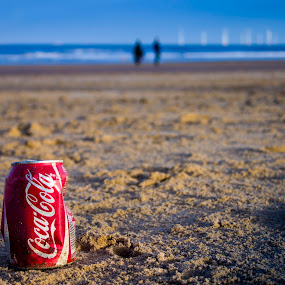 Coke can in the sand by Barrington Dent - Landscapes Beaches ( sand, can, coke, seaside, beach,  )