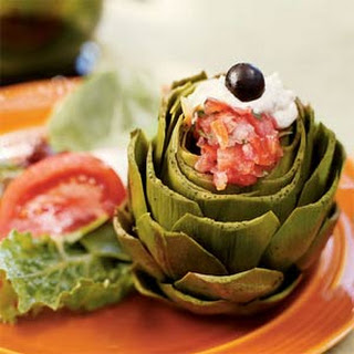 Steamed Artichokes with Fajita Vinaigrette and Creamy Pesto.
