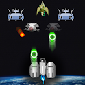 Earth and space invaders light icon