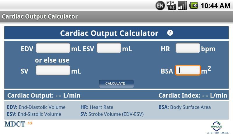 MDCT Cardiac Output Calculator- screenshot