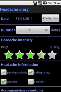 Headache diary - screenshot thumbnail