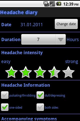 Headache diary - screenshot