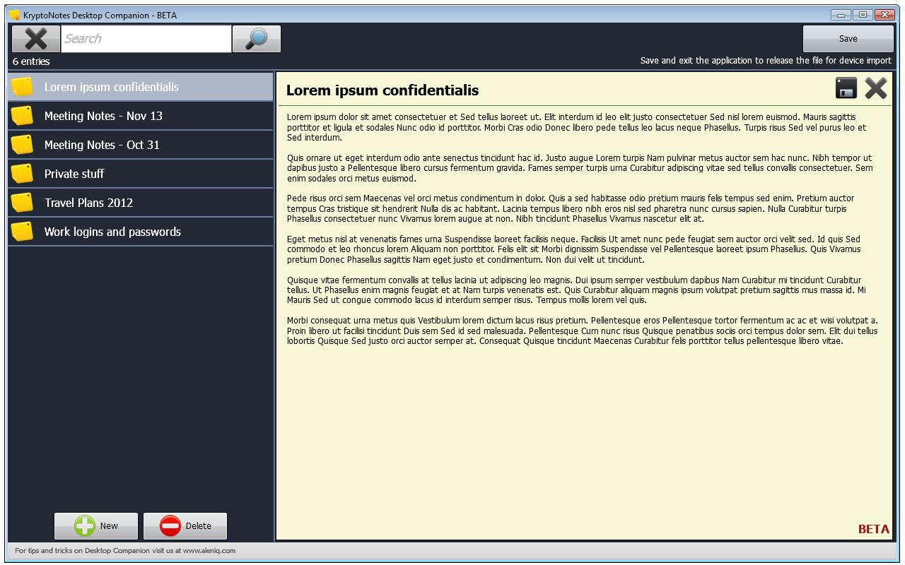 Krypto Notes- screenshot