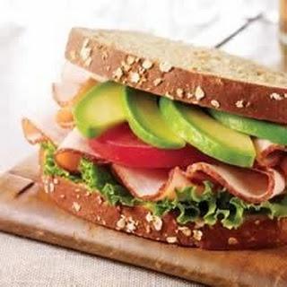 Turkey Sandwich with Spicy Avocado Spread.