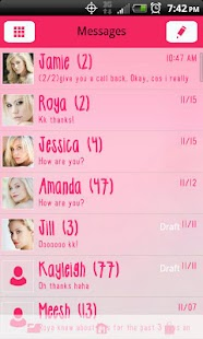 GO SMS THEME Pretty in Pink - screenshot thumbnail
