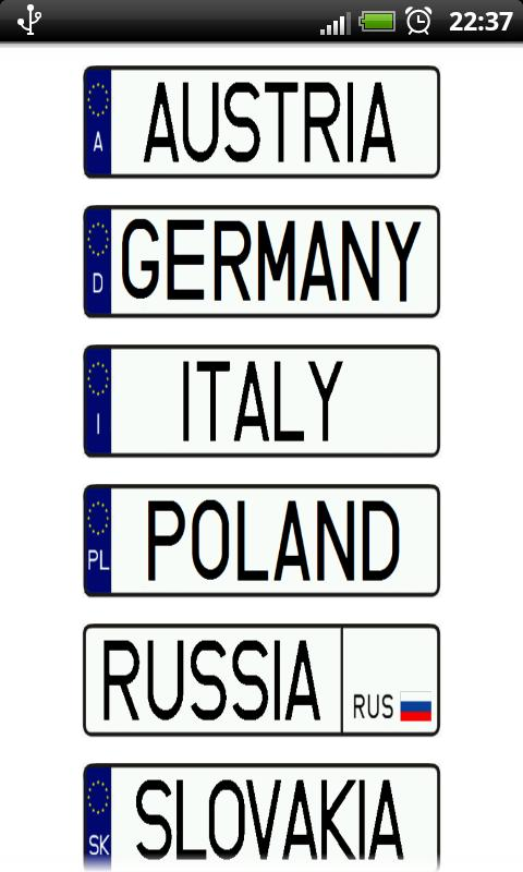 Vehicle registration plates - screenshot