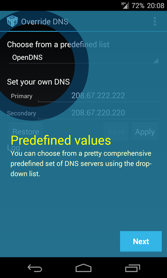 Override DNS (a DNS changer) - screenshot